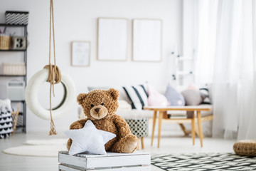 Teddy bear in playroom