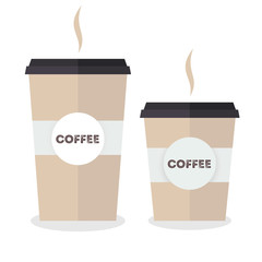 Flat paper coffee cup set. Large and small sizes. Coffee take away. Vector illustration
