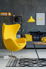 Living room with yellow details