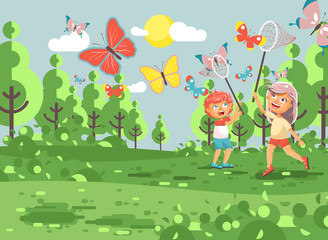 Vector illustration cartoon character two children, young naturalists, biologist boy and girl catch colorful butterflies with nets, scoop-nets, hoop-nets white background in flat style