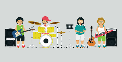 A schoolboy band with singers and musical instruments has a gray background.