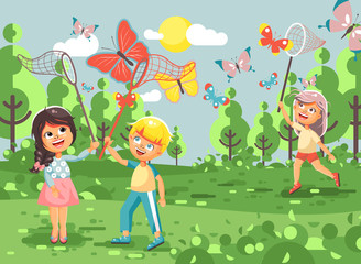 Vector illustration cartoon character children, young naturalists, biologist boys and girls catch colorful butterflies with nets, scoop-nets, hoop-nets on nature outdoor background in flat style