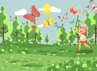 Vector illustration cartoon character lonely child, young naturalist, biologist blonde girl catch colorful butterflies with net, scoop-net, hoop-net on nature outdoor background in flat style