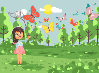 Vector illustration cartoon character lonely child, young naturalist, biologist brunette girl catch colorful butterflies with net, scoop-net, hoop-net on nature outdoor background in flat style