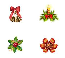 Christmas decoration icon set