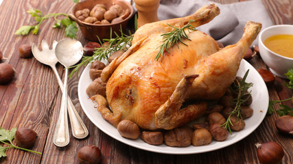 baked poultry with chestnut