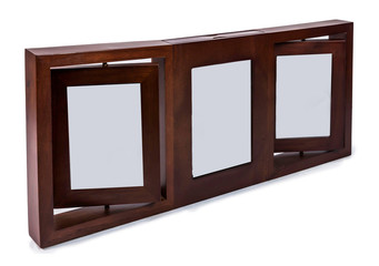 Brown wooden photo frame set 3 frame rotated in a plane isolated