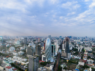 Aerial view modern office buildings Real estate, Bangkok Thailand