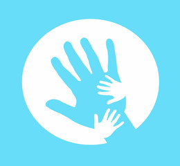 Hand together, Hand of Adult and Kid on blue