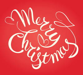 Merry Christmas hand lettering. Vector typographic.