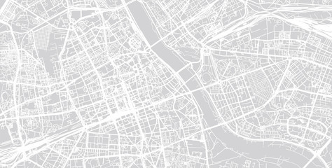 Urban city map of Warsaw, Poland