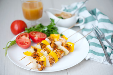 Chicken skewer with bell pepper and onion