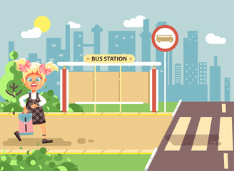 Vector illustration cartoon characters child, observance traffic rules, lonely blonde girl schoolchild, pupil go to road pedestrian crossing, on bus stop background, back to school in flat style