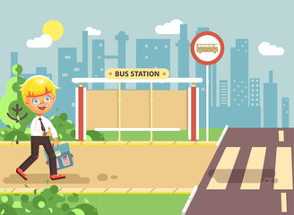 Vector illustration cartoon characters child, observance traffic rules, lonely blonde boy schoolchild, pupil go to road pedestrian crossing, on bus stop background, back to school in flat style