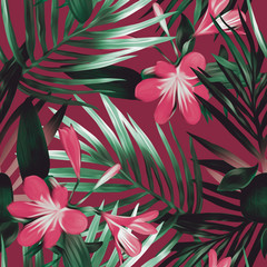 Seamless pattern with exotic flowers.