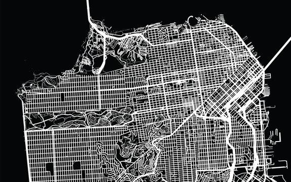 Urban city map of San Francisco, California