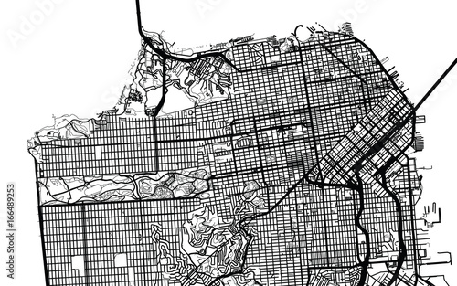 Urban city map of San Francisco California Stock image and