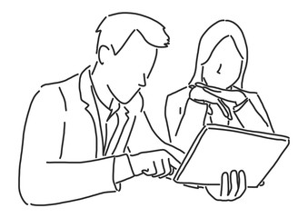 Two businessmen are sitting and discussing about work on a tablet, line drawing vector illustration graphic design