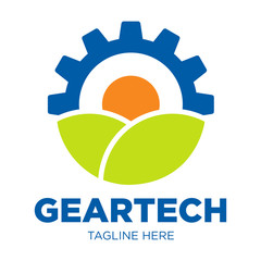 Gear Nature Leaf Sun Logo Template