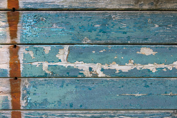 Background from old boards with blue paint