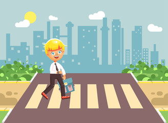 Vector illustration cartoon characters child, observance traffic rules, lonely blonde boy schoolchild, pupil go to road pedestrian crossing, on city background, back to school in flat style