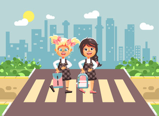 Vector illustration cartoon characters children, observance traffic rules, girls schoolgirls, classmates pupils go to road pedestrian zone crossing, on city background, back to school flat style