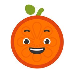 Laugh emoji. Laughing orange fruit emoji. Vector flat design emoticon icon isolated on white background.