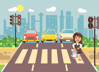 Vector illustration cartoon character child, observance traffic rules, lonely brunette girl schoolchild schoolgirl go to road pedestrian zone crossing, city background back to school flat style