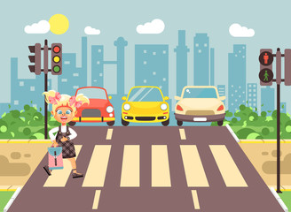 Vector illustration cartoon character child, observance traffic rules, lonely blonde girl schoolchild schoolgirl go to road pedestrian zone crossing, city background back to school flat style
