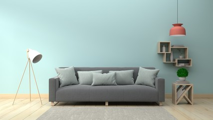 Living Room Interior with sofa and lamp on empty blue wall background. 3D rendering.