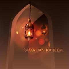 Ramadan Kareem Greeting. vector illustration in arabic style for Ramadan wishing.