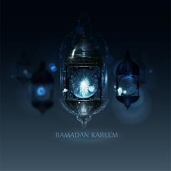 Ramadan Kareem Greeting. vector illustration in arabic style for Ramadan wishing.