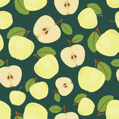 Seamless green apple pattern