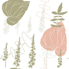 Floral vector seamless pattern with hand drawn agrimony flowers  and tropical  leaves in pastel colors.
