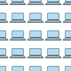 laptop seamless pattern in cartoon style isolated on white background vector illustration for web