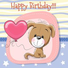 Cute Cartoon Puppy with balloon