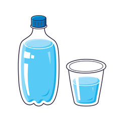 Water bottle and cup or glass isolated.