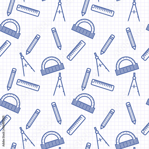 Seamless Pattern With Blue Line Art Icon Of Ruler Compasses Pencil
