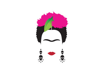portrait of Mexican or Spanish woman minimalist Frida with earrings skulls and flowers , vector isolated