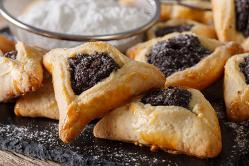 Hamantaschen cookies or hamans ears Purim celebration closeup. Horizontal
