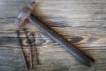 Old rusty nails, hummer