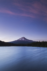 Mount Hood and Trillium Lake at blue hour