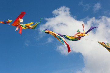 Colorful buntings overhead with clouds and blue sky as the background.