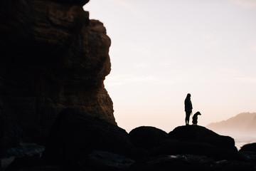 Human and dog silhouette