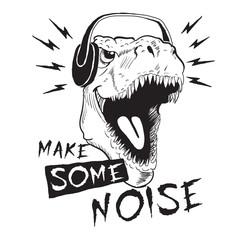 dinosaur tyrannosaur in headphones