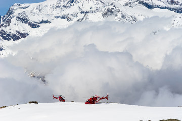 Snow mountains and helicopters
