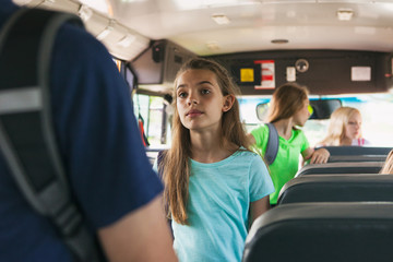 School Bus: Kids Coming Onto Bus To Take Seats