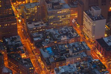 Aerial Night Scene in New York