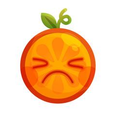 Crying emoji. Crying orange fruit emoji. Vector flat design emoticon icon isolated on white background.