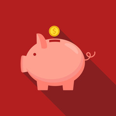 Piggy bank with coin icon, isolated flat style. Concept of money, investment, banking or business services. Vector illustration.